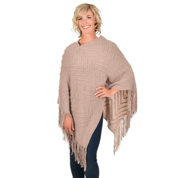 Journee Collection Women's Knit Fringed Poncho