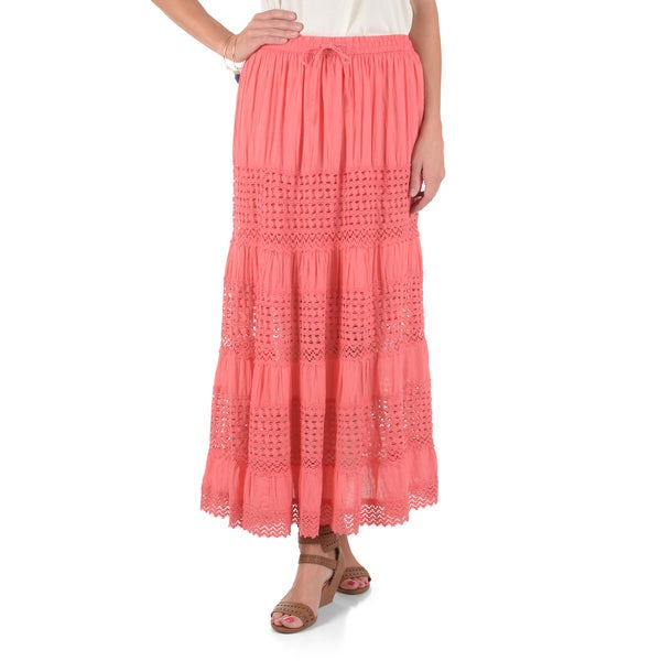 Journee Collection Women's Crochet Tiered Maxi Skirt