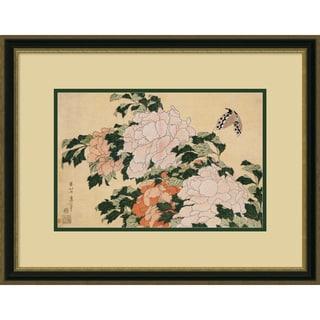 Katsushika Hokusai 'Pink and Red Peonies' Framed Art Print 25 x 19-inch