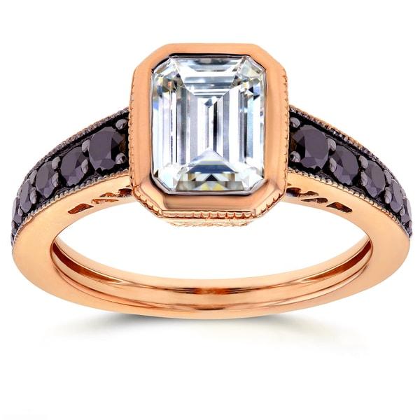 Annello by Kobelli 14k Rose Gold 2 1/5ct TGW Emerald Bezel Forever Brilliant Moissanite and Black Diamond Art Deco Ring 16448278