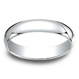 18k White Gold Men's 4mm Traditional Wedding Band