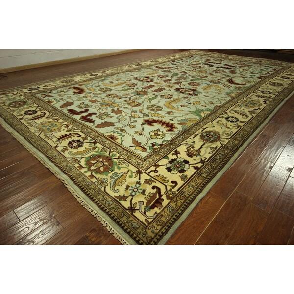 Free-Pad Hand-knotted Blue/ Ivory Heriz Serapi Wool Oriental Area Rug (2' x 20') 16448576