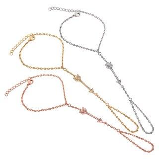 Eternally Haute 14k Goldplated Pave Cubic Zirconia Cupid Arrow Hand Chain