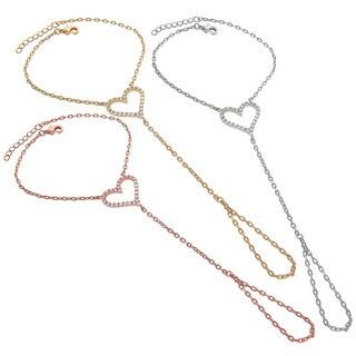 Eternally Haute 14k Goldplated Pave Cubic Zirconia Heart Hand Chain