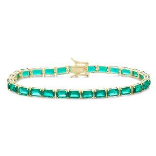 Gioelli 10k Yellow Gold over Silver Created Emerald Tennis Bracelet