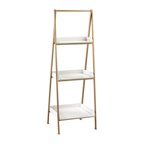Sterling white and gold accent shelf 17730443 for Furniture of america nara contemporary 6 shelf tiered open bookcase
