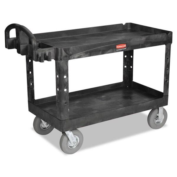 Rubbermaid Commercial Black Two-Shelf Heavy-Duty Utility Cart