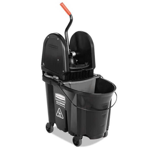 Rubbermaid Commercial Executive WaveBrake Down-Press Black Mop Bucket