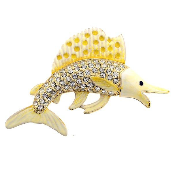White Yellow Swordfish Crystal Pin Brooch