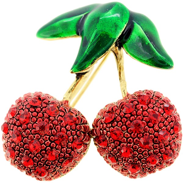 Red Cherry Crystal Pin Brooch