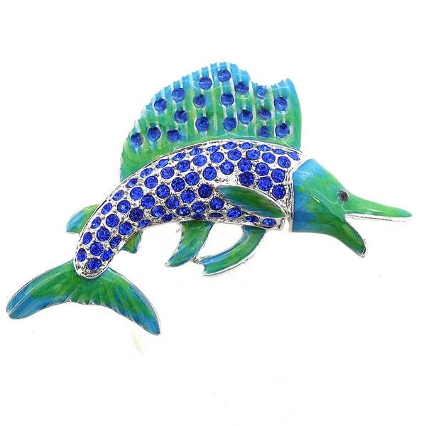 Blue Crystal Swordfish Pin Brooch