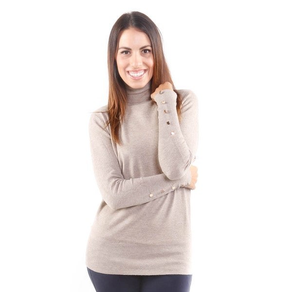 Hadari Women's Ribbed Turtleneck w/ Gold Button Sleeves