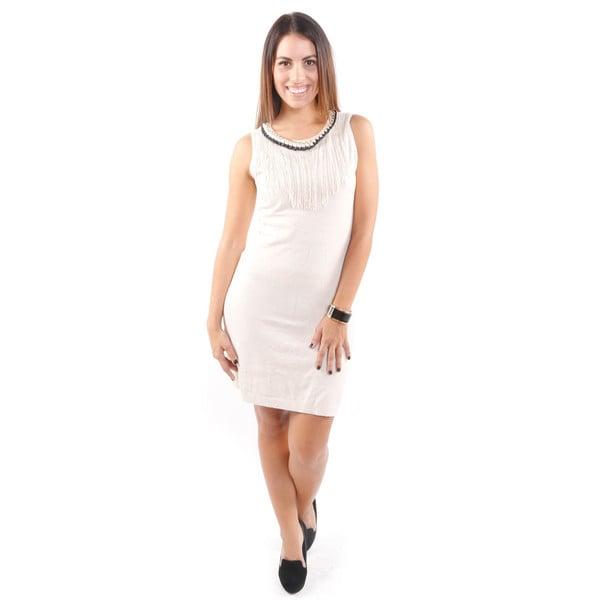 Hadari Women's Mini Sleeveless Tunic Sweater Dress w/ Fringe and Chain Neckline