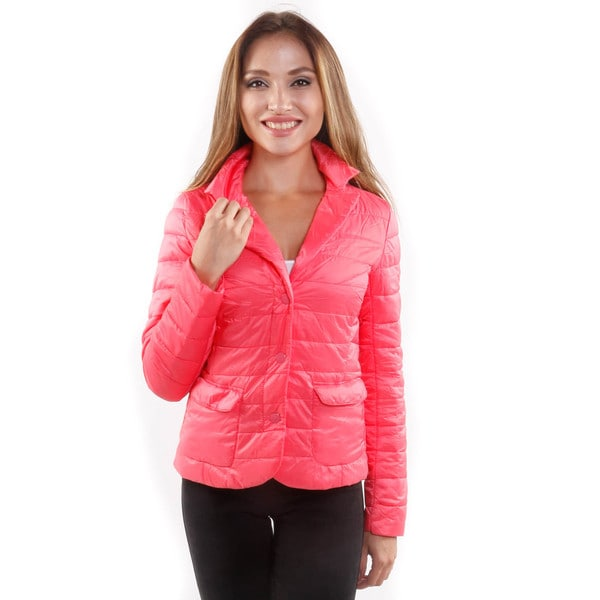Hadari Women's Puffy Long Sleeve Button Front Jacket