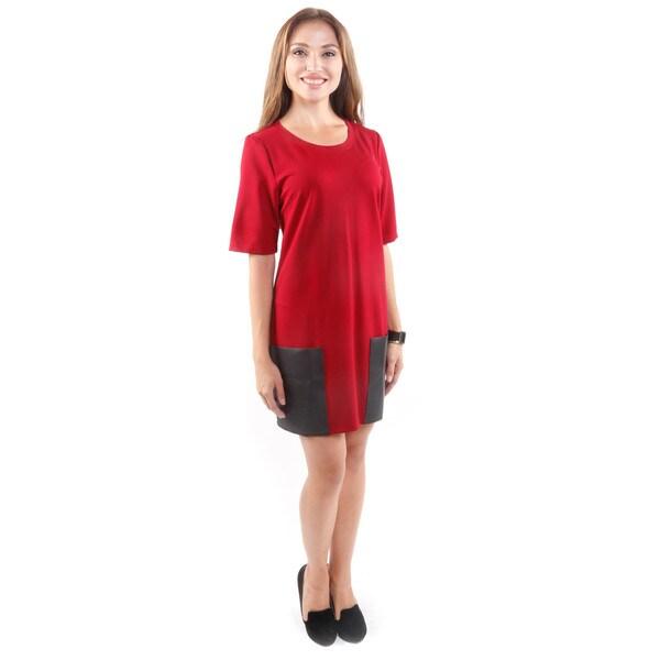 Hadari Women's Short-Sleeve Mod Dress W/ Pockets (Large)