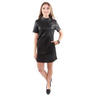 Hadari Women's Mock Neck Short-Sleeve Dress