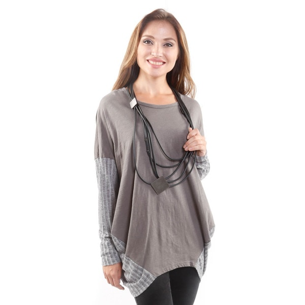 Hadari Women's Oversized Long-Sleeve Textured Tee