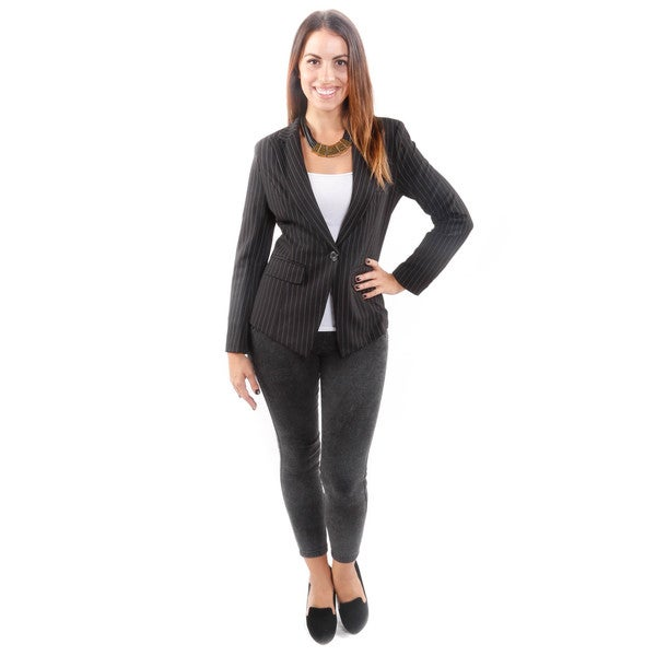 Hadari Women's One-Button Pinstripe Blazer
