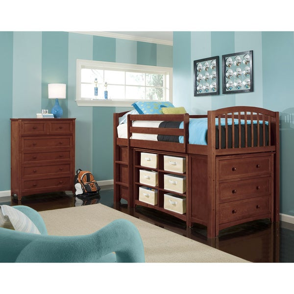 NE Kids School House Junior Loft Cherry with Rails, Stairs, Horizontal Bookcase and Double 3-Drawer Chests