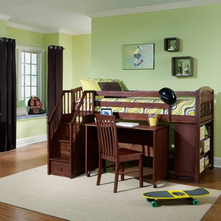 School House Junior Cherry Loft Bed with Storage, Desk and Stairs