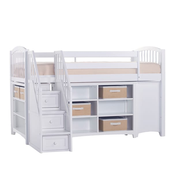 School House Collection White Junior Loft with Rails, Short Vertical Bookcase, Horizontal Bookcase, 3-Drawer Chest and Stairs