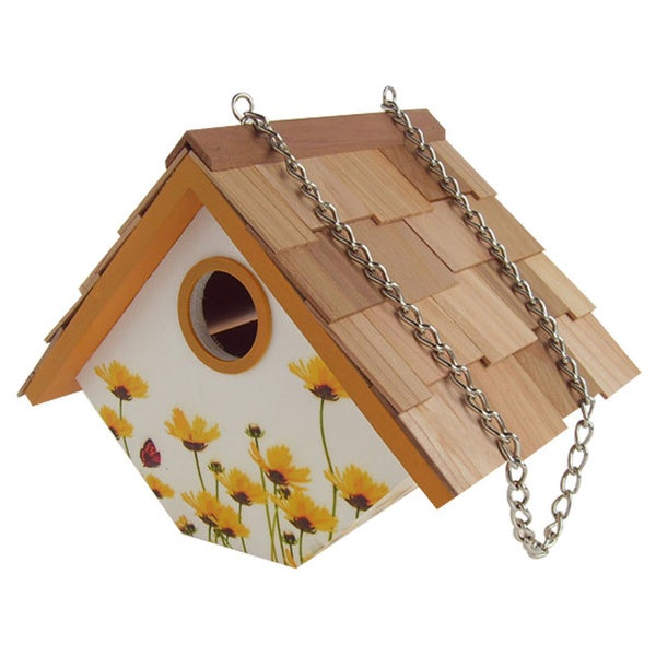Printed Wren Hanging Birdhouse