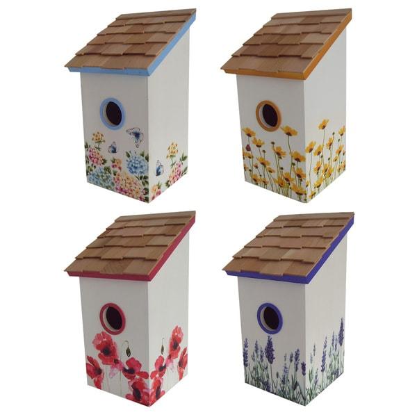 Printed Salt Box Floral Birdhouse