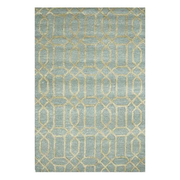 Hand-Tufted Trellis Pattern Silver Sea Moss/Apple Green Wool (5 x 8) Area Rug
