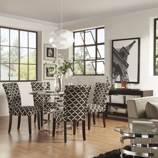 Nova Round Glass Top Vortex Iron Base Moroccan Pattern Fabric 5-piece Dining Set