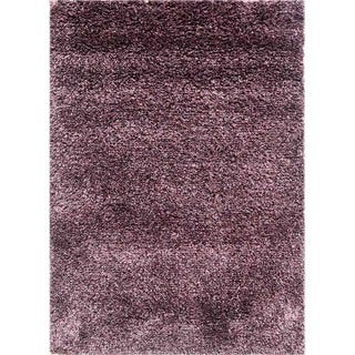 Shag Solid Pattern Plum/Wistful Mauve Polyester (9 x 12) Area Rug