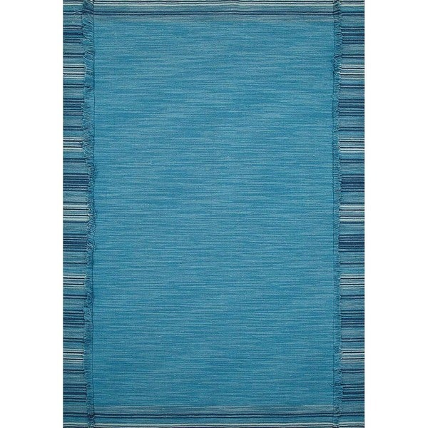 Flat-Weave Solid Pattern Celestial Blue/Aegean Blue Wool (5 x 8) Area Rug