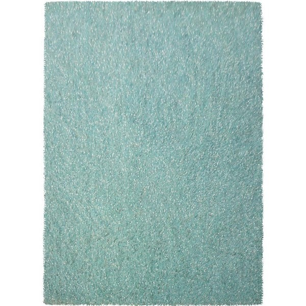 Shag Solid Pattern Soft Aqua/Soft Aqua Polyester (5 x 7.6) Area Rug