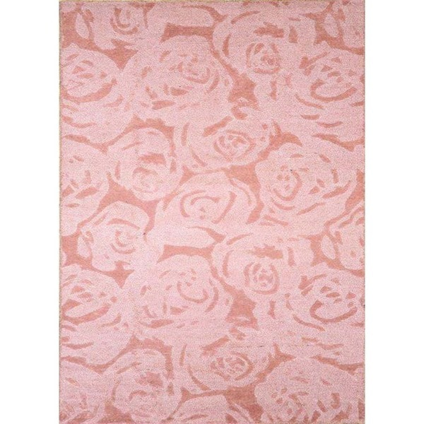 Hand-Tufted Floral Pattern Dusty Rose/Dusty Rose Wool (5 x 8) Area Rug