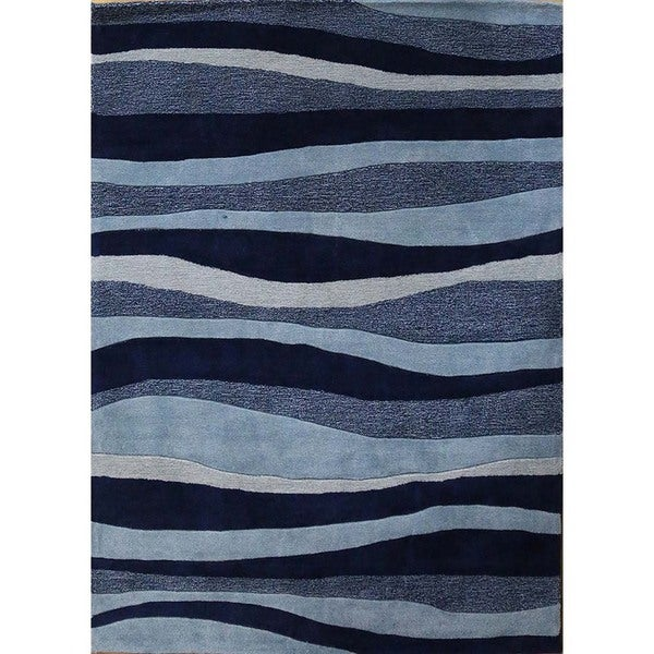 Indoor-Outdoor Abstract Pattern Deep Navy/Sky Blue Polyester (5 x 7.6) Area Rug