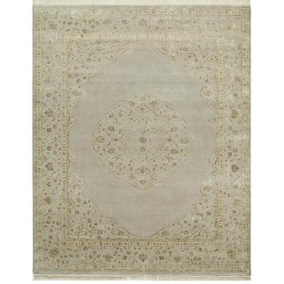 Hand-Knotted Floral Pattern Soft Gray/Soft Gray Wool (6 x 9) Area Rug