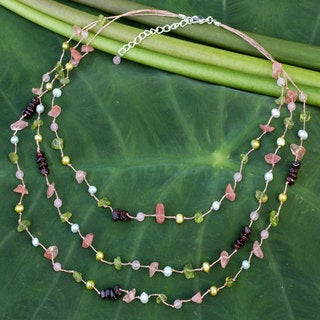 Multi-gemstone 'Sweet Tropical' Pearl Necklace (4 mm) (Thailand)