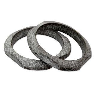Set of 2 Handcrafted Mango Wood 'Forest Whisper' Bracelets (India)