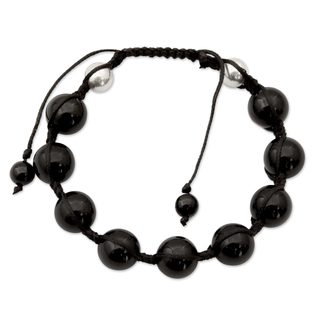Handcrafted Sterling Silver 'Moonlit Protection' Onyx Bracelet (India)