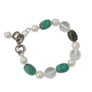 Silver 'Sweet Dream' Pearl Multi-gemstone Bracelet (7 mm) (India)