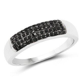 Malaika Sterling Silver 1/5ct TDW Black Diamond Ring