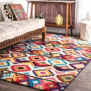 nuLOOM Retro Tribal Diamonds Multi Kids Rug (9' x 12')