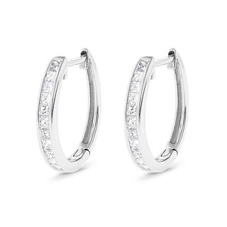 Luxurman 14k Gold 3/5ct TDW Princess-cut Diamond Hoop Earrings (G-H, VS1-VS2)