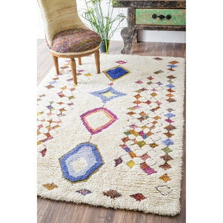 nuLOOM Handmade Moroccan Colorful Diamonds Shag Multi Rug (5' x 8')
