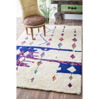 nuLOOM Handmade Moroccan Abstract Diamonds Shag Multi Rug (7'6 x 9'6)