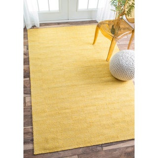 nuLOOM Handmade Concentric Diamond Trellis Wool/ Cotton Yellow Rug (7'6 x 9'6)