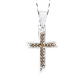 10k White Gold Brown Diamond Cross Pendant