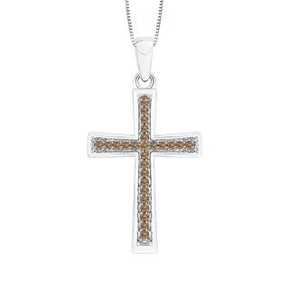 10k White Gold 1/10ct TDW Brown Diamond Cross Pendant (Brown,I1)