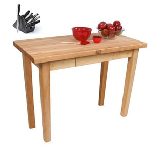 John Boos C01-D-TLR Country Maple Table & Henckels 13-piece Knife Block Set
