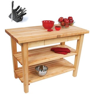 John Boos C01-D-2S-TLR Country Maple 2-drawer Work Table & Henckels 13-piece Knife Block Set
