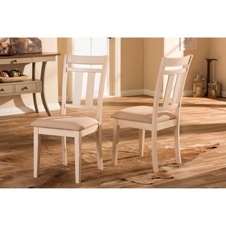Baxton Studio Roseberry Shabby Chic French Country Cottage Antique Oak Wood and Distressed White Dining Side Chair Set of 2